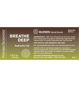 BREATHE DEEP Essential Oil Blend (15 ml) label