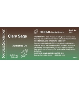 Clary Sage Essential Oil (15 ml) label