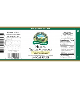 Herbal Trace Minerals (100 Caps) label
