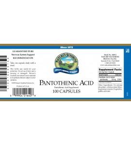 Pantothenic Acid (250 mg) (100 Caps) label