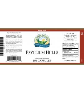 Psyllium Hulls (100 Caps) label